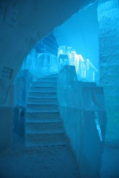 These 23 Unique Staircases Are Absolutely Mesmerizing Ice Hotel stairs Ice Hotel, Ice Art, Snow Sculptures, Ice Castles, Fantasy Places, Snow And Ice, Stairway To Heaven, Stairways, Monuments