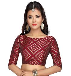 Studio Shringaar Women's Brocade & Georgette Back Button Elbow Length Sleeves Readymade Blouse Fancy Blouse Designs, Saree Blouse Designs, Brocade Blouses, Brocade Saree, Princess Cut Blouse, Jhumka Designs, Ethnic Looks, Indian Blouse, Beautiful Blouses