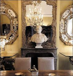 Coco Chanel Apartment Venetian Mirrors and Statue Bust on Mantle Venetian Glass, Venetian Mirrors, Glass Mirrors, Mirror Mirror, Mirror Walls, Parisian Apartment, Paris Apartments, Parisian Decor, Mademoiselle Coco Chanel