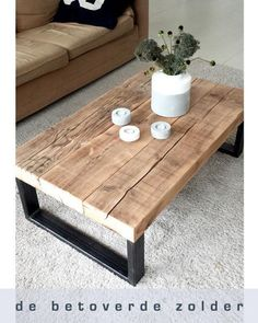 Salontafel Timber - Industrieel Hout Robuust
