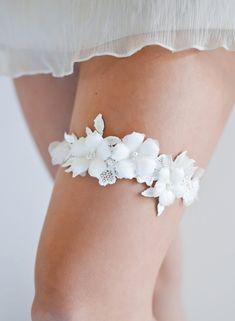 Wedding Garter Set Bridal Ivory Rustic