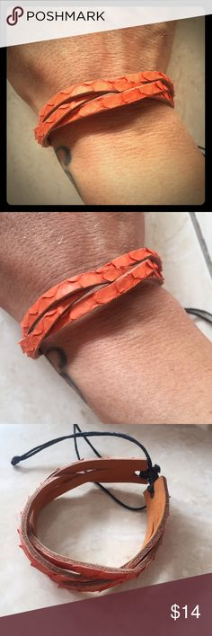Gorgeous snake leather bracelet Handmade in Bali from dyed snake leather gorgeous woven friendship design features adjustable slip knot back for a universal fit. Great piece for layering, perfect holiday gift. Happy shopping:) handmade Jewelry Bracelets