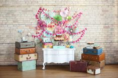 paper fan and bunting dessert table