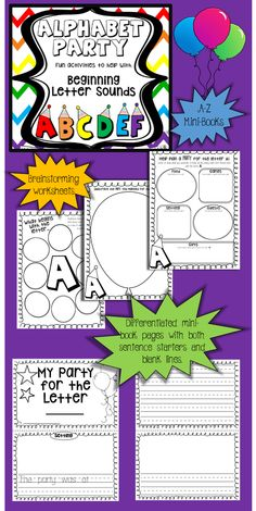 "A-Z mini-books and brainstorming pages. This is a fun activity where students plan a ""party"" for each letter, with only items beginning with that letter.    https://www.teacherspayteachers.com/Product/Alphabet-Mini-Book-Activity-A-Z-beginning-letter-sounds-1739299"