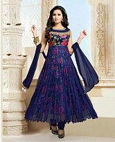Navy Blue Semi Stitched Net Anarkali Salwar Kameez