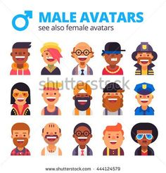 Set of cool male avatars. Different skin tones, clothes and hair styles. Modern and simple flat design.