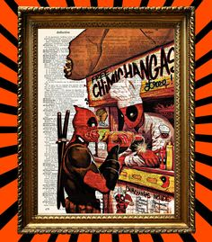 Deadpool vs Deadpool Free Chimichangas Awesome Upcycled Vintage Dictionary Page Book Art Print