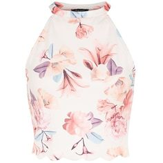White High Neck Floral Print Scallop Hem Crop Top (€8,24) ❤ liked on Polyvore featuring tops, crop top, shirts, high neck top, floral shirt, slim fit white shirt, white crop top and cropped shirts