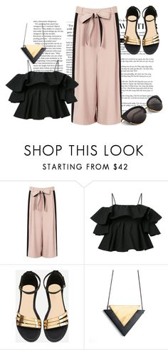 """Gold&Black"" by dvorska-michaela on Polyvore featuring MSGM, Summer, outfit, blackandgold and femme"