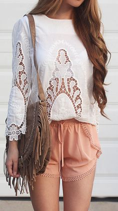 Spring / Summer - street chic style - beach style - white long sleeve round neck lace insert blouse + peach lace insert short + brown suede and fringe bohemian messenger bag