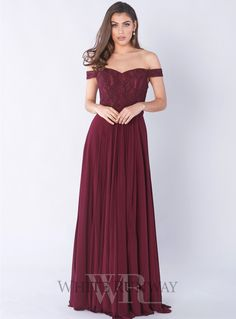 Cove Gown. A beautiful full length dress by Jadore. An off shoulder style featuring lace bodice and lycra mesh skirt.