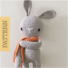 Ganchillo amigurumis lindo conejito patrón solamente, Animal relleno del ganchillo, pdf patrón del conejo de conejito