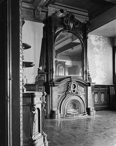"""Dining room carved overmantel and half-round, hob style insert <a class=""""caplink"""" href=""""http://www.historic-details.com/historic-houses/connecticut/lockwood-mathews-mansion/"""" target=""""_blank"""">» Article</a>"""