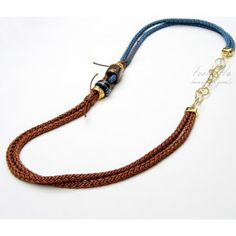 Chocolat-Blue Satin Rope Necklace #rope necklace