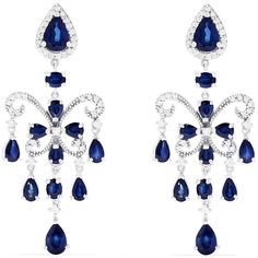 Effy Jewelry Effy 14K White Gold Blue Sapphire & Diamond Chandelier... ($3,675) ❤ liked on Polyvore featuring jewelry, earrings, diamond chandelier earrings, 14 karat gold diamond earrings, diamond jewellery, diamond jewelry and 14k diamond earrings