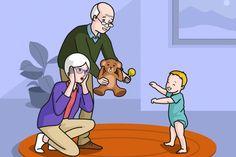 Escena en la que se ve al bebé dando sus primeros pasos y a la abuela sorprendida