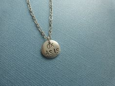 """OK AS IS"" hand stamped metal necklace"