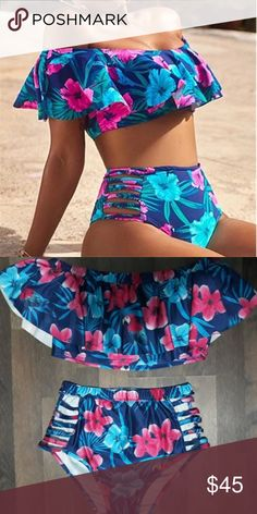 Hibiscus High Waisted Bikini Brand new , true to size Swim Bikinis #highwaistedbikinis #style#swimsuit#womensfashion