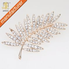 6e4fc5679c625 Mix Design FREE SHIPPING Glitter rhinestone feather pin brooch leaf scarf wedding  accessories prom corsage pin-in Brooches from Jewelry   Accessories on ...