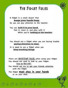 Fidget toy rules