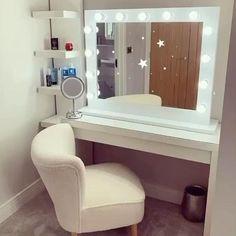Diy Bedroom Decor For Teens, Girly Bedroom Decor, Bedroom Setup, Teen Bedroom Designs, Teen Room Decor, Hollywood Mirror Ikea, Lights Around Mirror, Makeup Room Decor, Makeup Rooms