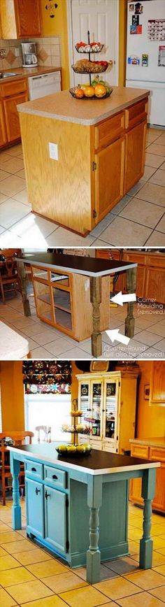 40 High Style Low-Budget Furniture Makeovers You Could Definitely Do 2017 - Clever Kitchen Island Makeover. Informations About 40 High Style Low-Budget Furniture Makeovers You - Kitchen Island Makeover, Kitchen Island Cart, Kitchen Island With Seating, Kitchen Islands, Island Table, Kitchen Cabinets, Island Stools, Kitchen Trolley, Island Bench