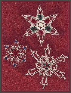 Thread crochet beaded snowflakes