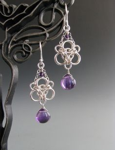 Aura Weave Chain Maille Earrings with Amethyst