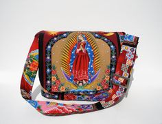 Guadalupe, Virgin Mary Mexican Art Large Messenger Purse w/adjustable handles