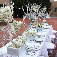 LOVE this tablescape from Diner en Blanc Albuquerque. Add dimension to your table design by adding height and texture with your decorations. Picnic Dinner, Summer Picnic, White Table Settings, Paris Party, Le Diner, Birthday Dinners, Shades Of White, Tablescapes, Table Decorations
