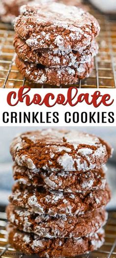 With just a few simple ingredients, Chocolate Crinkle Cookie Recipe comes together quickly. These cookies are so delicious and easy for any day of the week. With just a few simple ingredients, Chocolate Crinkle Cookie Recipe comes toget Cake Mix Cookie Recipes, Holiday Cookie Recipes, Holiday Desserts, Dessert Recipes, Chocolate Cake Mix Cookies, Chocolate Crinkles, Chocolate Cookie Recipes, Baking Recipes, Easy Recipes