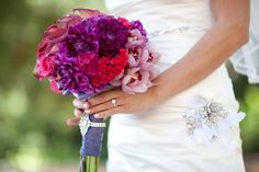 Amy & Shahab's Wedding at Pelican Hill. Amy's stunning pink and purple bouquet!
