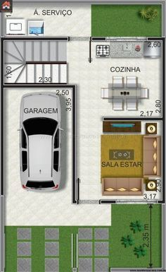 Planta sobrado pequeno geminado in 2020 One Floor House Plans, Small House Plans, House Map, Duplex House, Minimalist House Design, Tiny House Design, Small Apartment Plans, Building A Small House, Small Villa