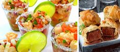Mmmm. We love these unique weddign reception appetizers - shrimp and scallop ceviche and Beef Wellington.