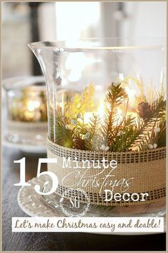 15 Minute Christmas Decor - Let's make Christmas easy and doable with this pretty arrangement! I'm all about easy this Christmas! Let's give…
