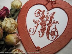 """Embroidery ...  The holiday, which is always with me...: Pinkeep Monogram """"M"""" /  Veronique Maillard """"Les be..."""