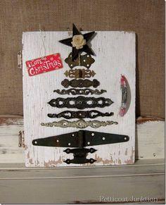 DIY Christmas Tree - reclaimed and reused hinges