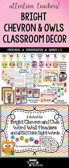 Are you ready for an OWL-TASTIC year? This packet is over 400 pages! Whew! This Bright Rainbow Chevron and Owl Themed Classroom Decor Set will get you started on making your classroom a great adventure. Perfect for ESL, homeschool, special education, preschool, kindergarten, first grade, second grade and third grade. Click to download now.