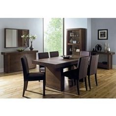 lyon walnut 150cm dining table 6 ivory leather chairs decoración