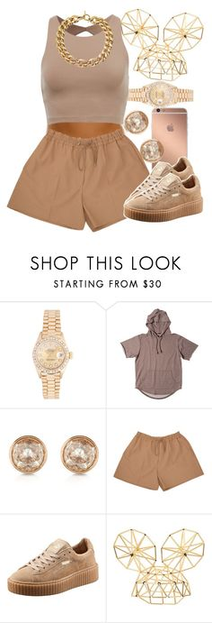 """""""Brown """" by lulu-foreva ❤ liked on Polyvore featuring Rolex, Mura, Michael Kors, Acne Studios, Puma and WXYZ by Laura Wass"""