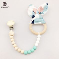 Let's Make Baby Teether Silicone Bunny Ear Pacifier Clip Chew Silicone Car Seat Toy Raws Orhanic Cotton Nursing Accessories
