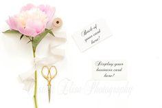 Pink Peony business card mockup by CEPhotography on @creativemarket, Cristina Elisa Photography, Styled Stock Photography, Sorbet Peony, Mock-up