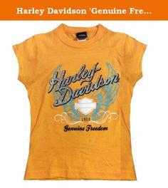 Harley Davidson 'Genuine Freedom' Girls Orange T-Shirt, Size 6/6X. Harley-Davidson tee with Harley Davidson in glittering silver accents above the bar and shield logo, and 'Genuine Freedom' below on a background of turquoise wings. Sweet shirt for little girls, they'll love the sparkling design.