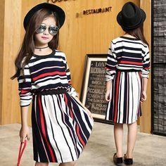 $24.89 (Buy here: https://alitems.com/g/1e8d114494ebda23ff8b16525dc3e8/?i=5&ulp=https%3A%2F%2Fwww.aliexpress.com%2Fitem%2Ffashion-striped-dress-for-girl-kids-a-line-dress-clothes-little-big-girls-wedding-dress-for%2F32713592209.html ) fashion striped dress for girl kids a line dress clothes little big girls wedding dress for teenage kids clothing autumn 2016  for just $24.89