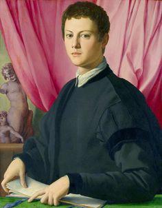 Bronzino - Portrait of a young man or (?) Portrait of the sculptor Pierino da Vinci (1550-55) NG London