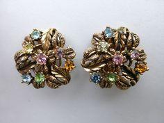 Karu Arke Earrings gold tone leaves pastel rhinestones AH42 #KaruArke