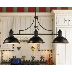 Image of Bronze Kitchen Light Fixtures of Metal Lamp Shades with Matte Black Paint Color Alongside Antique Brass Round Knobs for Shaker Style Cabinets