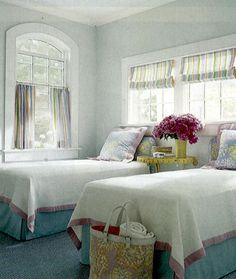twin beds  drapery treatments