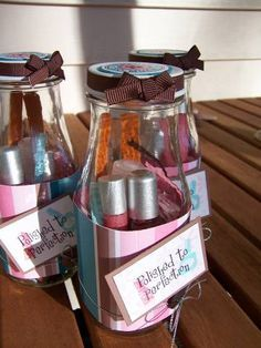 Cute idea for preteen/teen girl bday party favors. Put a nail polish, clipper, emery board, etc in there!!