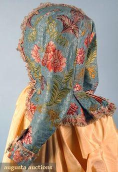 LADIES SILK BROCADE BODICE, 1780s Figured aqua silk brocaded w/ multi-colored floral designs, ruched cream silk gauze ribbon, homespun linen lining.